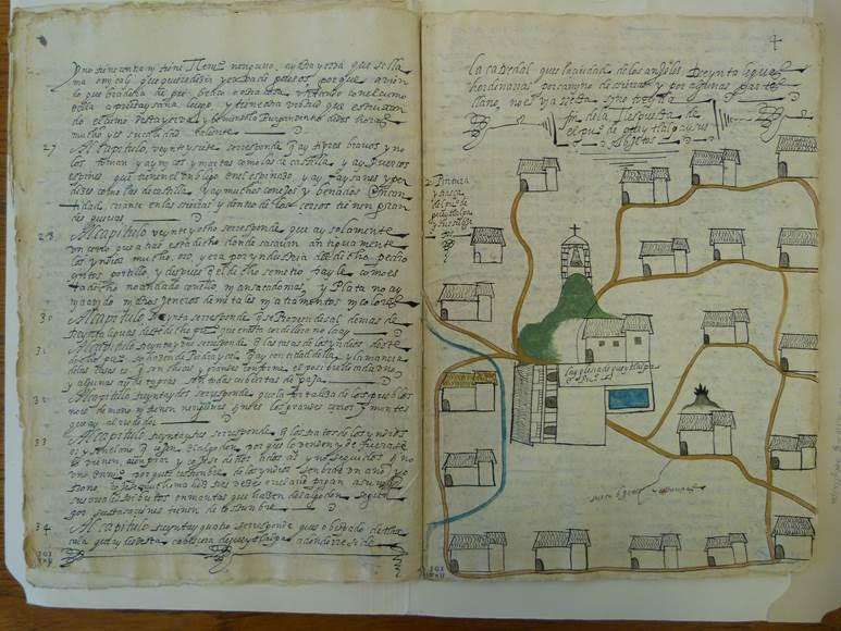 1581 map of a region of Gueytlalpa, Mexico, from the Relaciones Geograficas of King Philip II of Spain. It is part of a manuscript book answering questions about the region for the king, interspersed with drawings of the territory, probably by a native hand. I studied this at the Nettie Lee Benson Latin American Collection at UT Austin.