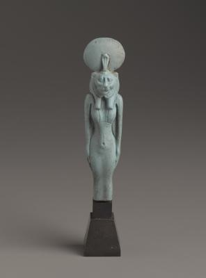Figurine of a Standing Lion-Headed Goddess, Faience, Brooklyn Museum. Charles Edwin Wilbour Fund, 37.943E