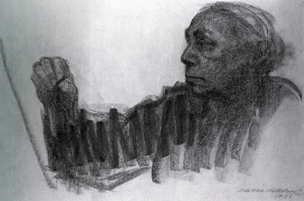 Käthe Kollwitz, Self Portrait, 1935, charcoal on paper