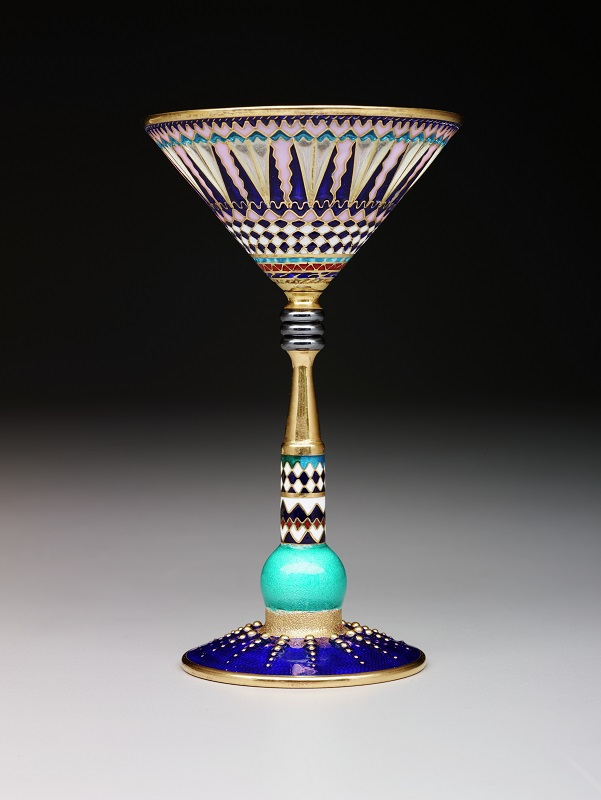 Martini glass, c. 2001, Valeri Timofeev, designer, silver gilt, plique-à-jour enamel, enamel, unidentified hardstone, Dallas Museum of Art, Discretionary Decorative Arts Fund, 2014.21