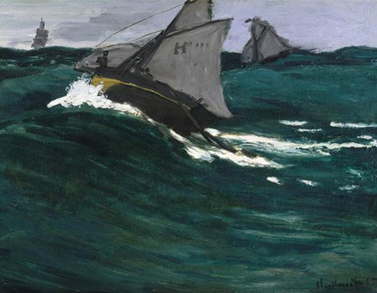 Monet, Green Wave, c. 1866–67, Oil on canvas, The Metropolitan Museum of Art, H. O. Havemeyer Collection; Bequest of Mrs. H. O. Havemeyer, 1929 (29.100.111)