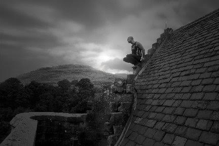 Where to Live After Death: Test for Self Portrait as a Gargoyle (Castle Glume), photograph, 2016