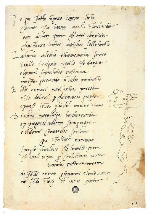 Michelangelo Buonarotti, Manuscript of Sonnet 5 with self-portrait, c. 1509–1510, Biblioteca Medicea Laurenziana, Florence