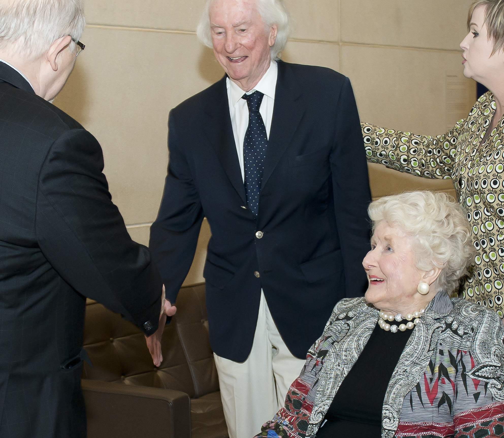 Dr. Richard Brettell greets the Institute's founders, Edith and Peter O'Donnell