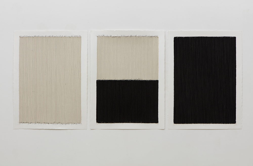 "Linnea Glatt, Beige Pinstripe, Black/Beige Pinstripe, Black Pinstripe, 2016, Fabric and thread on paper, 30"" x 22"", Courtesy of the artist and Barry Whistler Gallery"